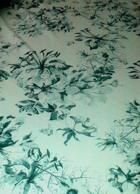 Джинс ткань белый с фотопечатью , лилии, фото 3