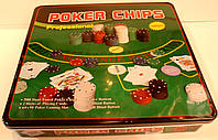 Набор для покера на 500 фишек  в металлической коробке