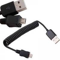 Micro USB зарядка синхронизация кабель пружина 1м
