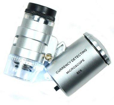 Карманная лупа-микроскоп, 60-кратная, с подсветкой