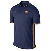 Футболка Барселоны тренировочная (поло) с пуговицами, темно синяя S