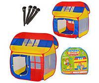 Палатка M 0508 домик, размер 110-92-114 см, 2 входа с занавеской, 3 окна-сетки, в сумке