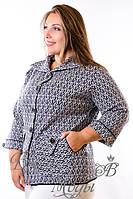 Сине-белый пиджак женский с карманами. р. 48-54