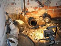 Демонтаж замурованных труб канализации