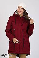 Куртка-парка для беременных Inira, утепленная, бордовая, фото 1