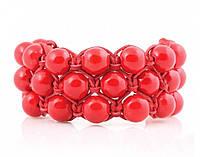Кожаный браслет из коралла красного в 3 ряда