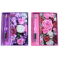"""Блокнот в подарочной упаковке 0215 """"Цветы"""" с ручкой"""