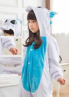 Пижама кигуруми kigurumi костюм Единорог голубой 110см на рост 130см