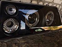 Передние фары на ВАЗ 2109 черного цвета (Ангельские глазки)