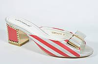 Красные сабо шлепанцы Lanzoni на маленьком каблуке