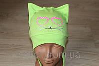 Трикотажные шапки на девочку аппликация 46-50 см кошка мордочка ушки (цвета в ассортименте)