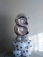 №2 Фольгированная цифра на подставке из шаров 1,1м