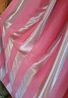 Ткань  блекаут полоса розовый+серебро,  высота 2.8м