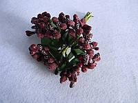 Тычинки с листочками бордо