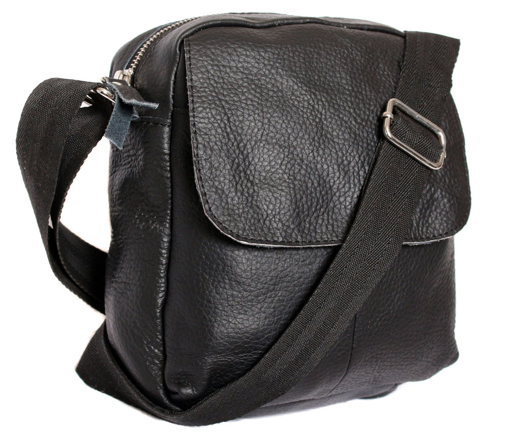 Небольшая мужская кожаная сумка через плечо черная