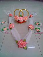 Свадебный комплект украшений для авто (№ 4) персиковый