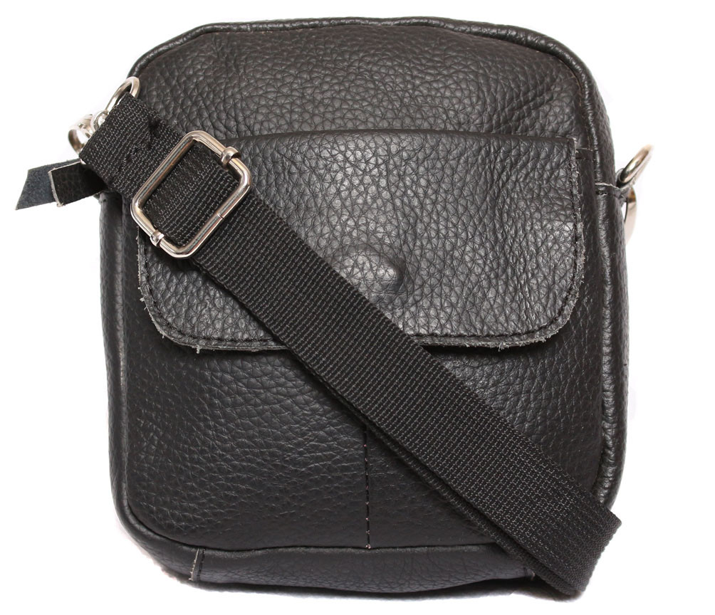 b1243da6fe34 Компактная мужская кожаная сумка на пояс и через плечо черная - АксМаркет в  Киеве