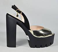 Черно-серебряные босоножки на каблуке Lottini супер качество