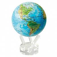 """Глобус самовращающийся левітує Mova Globe """"Фізична карта"""", блакитний, діаметр 114 мм (США)"""