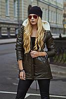Молодежная  зимняя куртка с меховым капюшоном