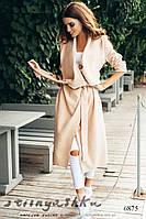 Женское кашемировое пальто без подкладки миди беж, фото 1