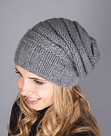 Женская вязаная шапка из полушерстяной пряжи 1229 (серый)