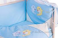 Комплект в кроватку с дельфинами ELLIT Украина 60917 голубой бежевые вставки