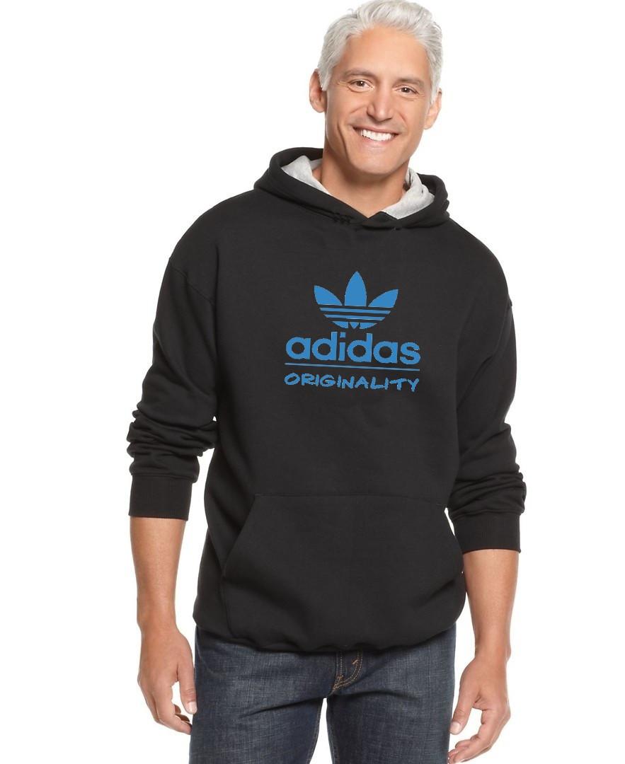 Худи Adidas   Мужская толстовка   Кенгурушка - синий принт (Черная)