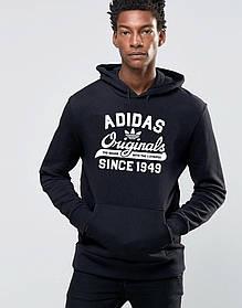 Худи Adidas  | Мужская толстовка | Кенгурушка - белый принт | Качественная реплика