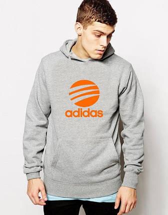 Худи Adidas | Мужская толстовка | Кенгурушка - оранжевый принт, фото 2
