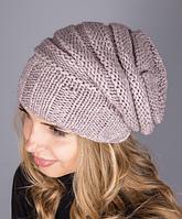 Теплая женская шапка из мягкой полушерстяной пряжи 1229 (лиловый)