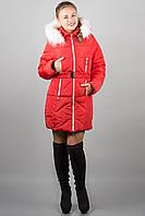 Зимняя куртка пуховик Дорри (красная белый мех) с поясом 44-54 размера
