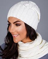 Комплект женский - шапочка и шарф-петля 1223 (молочный)