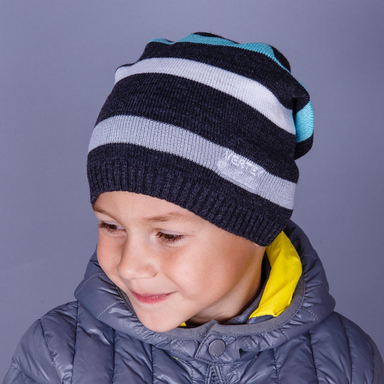 Брендовая вязаная шапка на мальчика оптом - VERTEX - весна-осень 2018 - Артикул 1515
