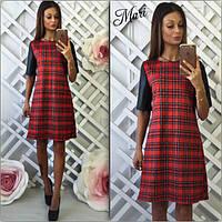 Короткое платье в клетку с кожаными рукавами