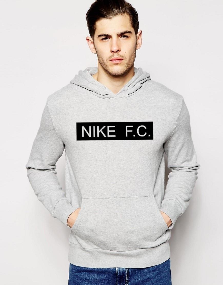 Худи Nike FC | Мужская толстовка | Кенгурушка серая