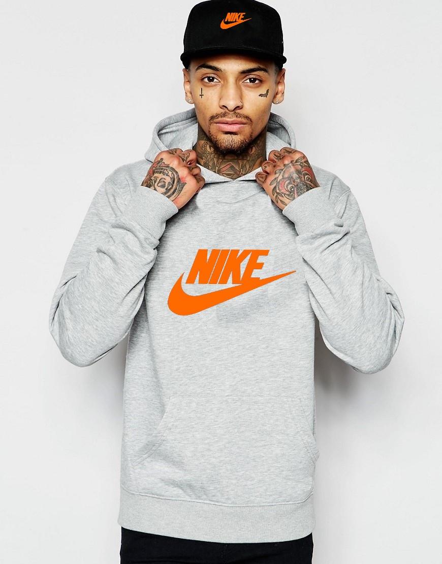Худи Nike | Мужская толстовка | Кенгурушка серая, оранжевый принт