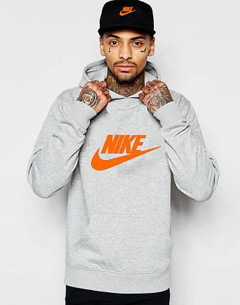 Худи Nike | Мужская толстовка | Кенгурушка серая, оранжевый принт, фото 2