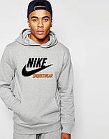 Худи Nike Sportswear | Мужская толстовка с начёсом | Кенгурушка серая