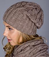 Теплый женский комплект - шапочка и шарф-петля 1223 (капучино)