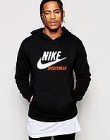 Худи Nike Sportswear| Мужская толстовка с начёсом | Кенгурушка чёрная