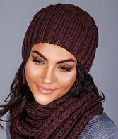Вязаный женский комплект - шапочка и шарф-петля 1223 (мокко)