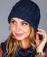 Оригинальный вязаный женский комплект - шапочка и шарф-петля 1223 (синий)