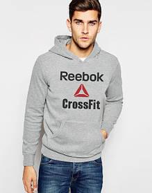 Худи Reebok Cross Fit | Мужская толстовка | Кенгурушка серая