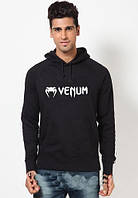 Худи Venum | Мужская толстовка | Кенгурушка чёрная, белый принт