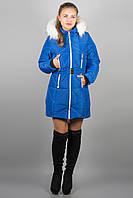 Зимняя куртка Дорри (электрик белый мех) с поясом 44-54 размера
