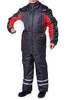 "Куртка утепленная ""Интер"" (цвет: светло-серый, серый с красным)"
