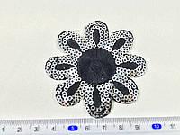 Нашивка цветочек пайетки  серебро цвет черный