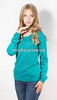 "Кофта пуловер женская бирюза ""Волна"" р.48"