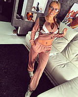 Женский спортивный костюм LV с замшевыми вставками